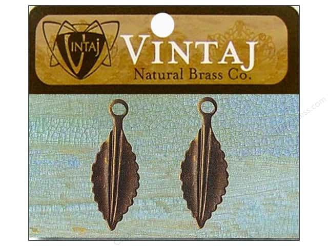 Vintaj Fastenables Persica Leaf Natural Brass 2pc