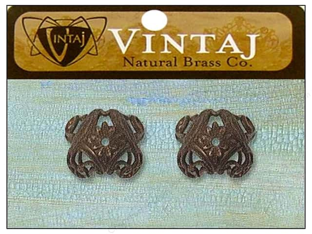 Vintaj Bead Cap Love Birds 11mm Natural Brass 2pc