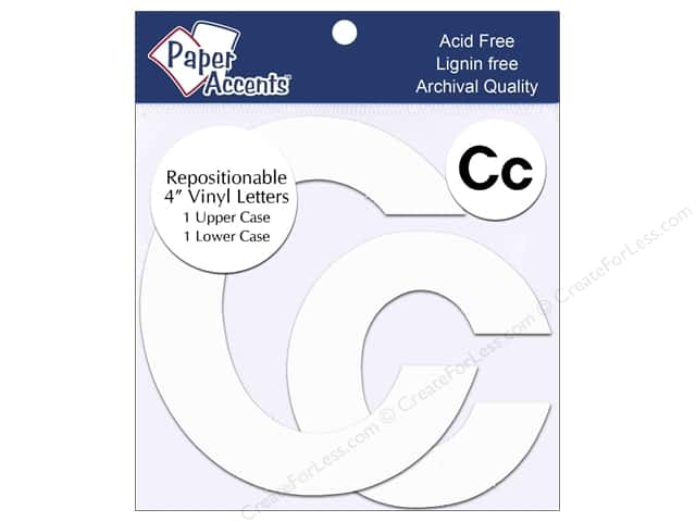 "Paper Accents Adhesive Vinyl 4 in. Letters ""Cc"" 2 pc. Removable White"