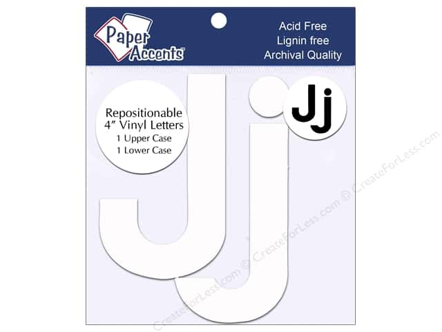 "Paper Accents Adhesive Vinyl 4 in. Letters ""Jj"" 2 pc. Removable White"