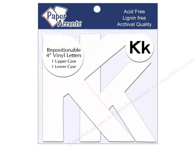 "Paper Accents Adhesive Vinyl 4 in. Letters ""Kk"" 2 pc. Removable White"
