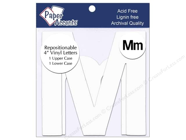 "Paper Accents Adhesive Vinyl 4 in. Letters ""Mm"" 2 pc. Removable White"