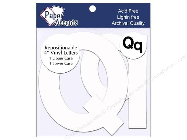 "Paper Accents Adhesive Vinyl Letters Removable 4"" Qq White 2pc"