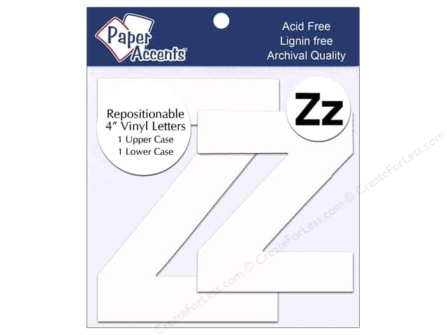 "Paper Accents Adhesive Vinyl 4 in. Letters ""Zz"" 2 pc. Removable White"
