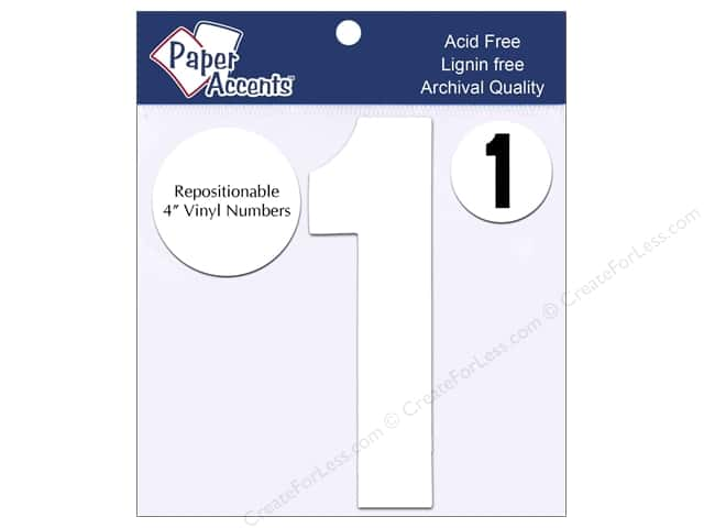 "Paper Accents Adhesive Vinyl Numbers Removable 4"" 1 White 2pc"