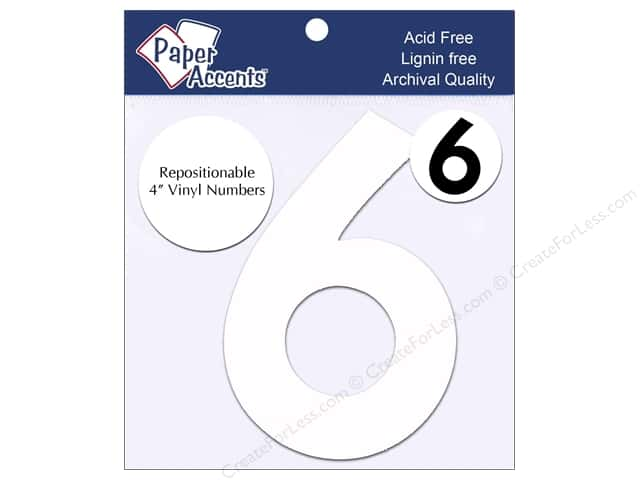 "Paper Accents Adhesive Vinyl 4 in. Numbers ""6"" 2 pc. Removable White"