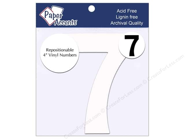 "Paper Accents Adhesive Vinyl Numbers Removable 4"" 7 White 2pc"