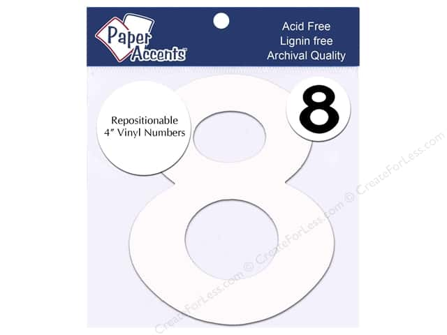 "Paper Accents Adhesive Vinyl Numbers Removable 4"" 8 White 2pc"