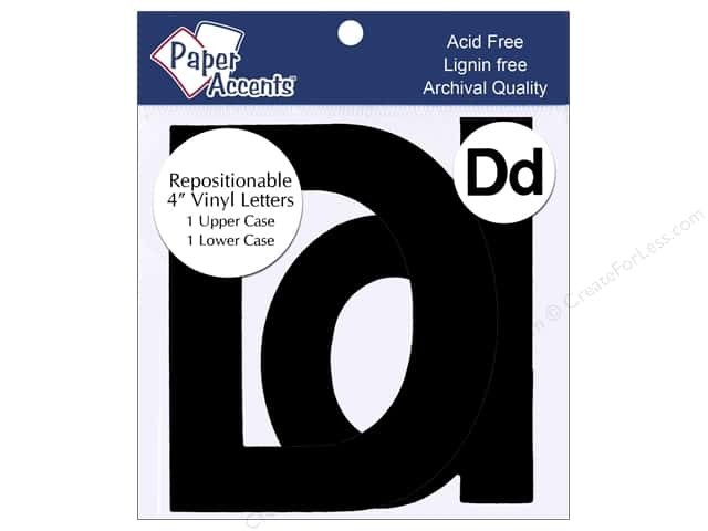 "Paper Accents Adhesive Vinyl 4 in. Letters ""Dd"" 2 pc. Removable Black"