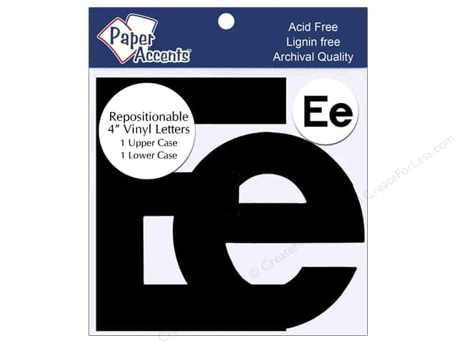 "Paper Accents Adhesive Vinyl 4 in. Letters ""Ee"" 2 pc. Removable Black"