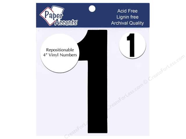 "Paper Accents Adhesive Vinyl 4 in. Numbers ""1"" 2 pc. Removable Black"