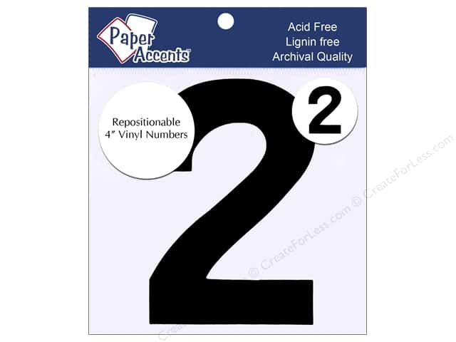 "Paper Accents Adhesive Vinyl 4 in. Numbers ""2"" 2 pc. Removable Black"