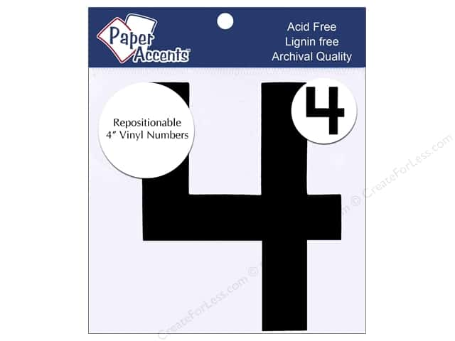 "Paper Accents Adhesive Vinyl Numbers Removable 4"" 4 Black 2pc"