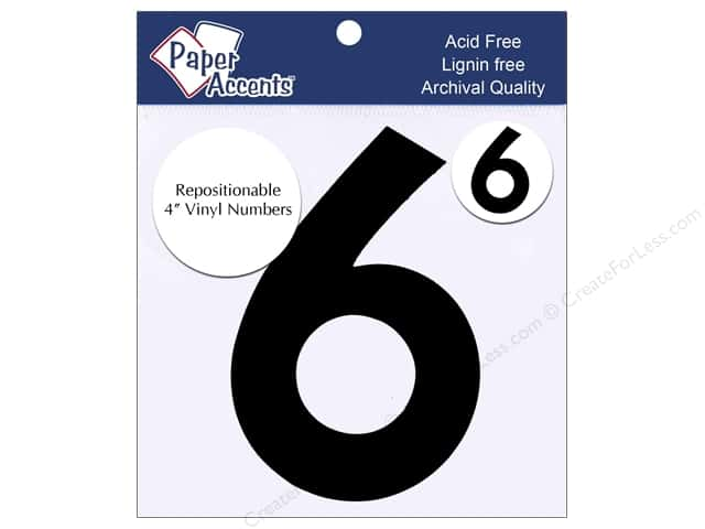 "Paper Accents Adhesive Vinyl 4 in. Numbers ""6"" 2 pc. Removable Black"