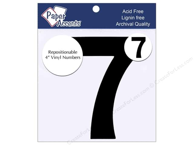 "Paper Accents Adhesive Vinyl Numbers Removable 4"" 7 Black 2pc"