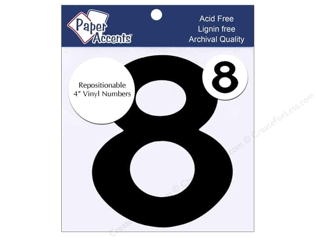 "Paper Accents Adhesive Vinyl 4 in. Numbers ""8"" 2 pc. Removable Black"