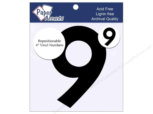 "Paper Accents Adhesive Vinyl 4 in. Numbers ""9"" 2 pc. Removable Black"