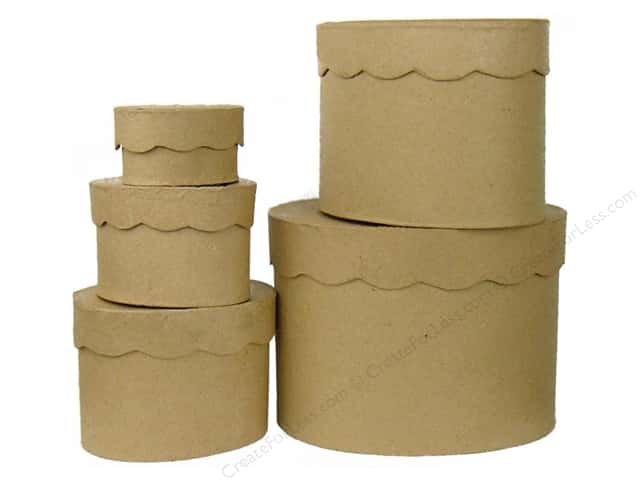 Paper Mache Oval Box Scallop Top Set of 5 by Craft Pedlars (4 sets)