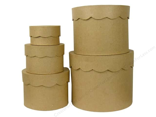 Paper Mache Round Box Scallop Top Set of 5 by Craft Pedlars (4 sets)