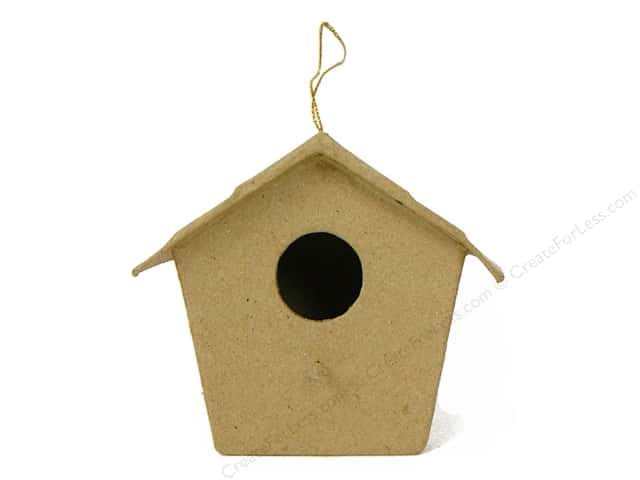 Paper Mache Birdhouse Ornament Pointed Roof by Craft Pedlars (3 pieces)