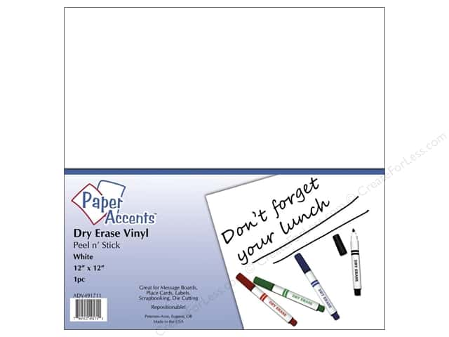 Paper Accents Adhesive Vinyl 12 x 12 in. Removable White Dry Erase