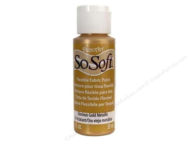 DecoArt SoSoft Fabric Paint 2 oz. Metallic Glorious Gold