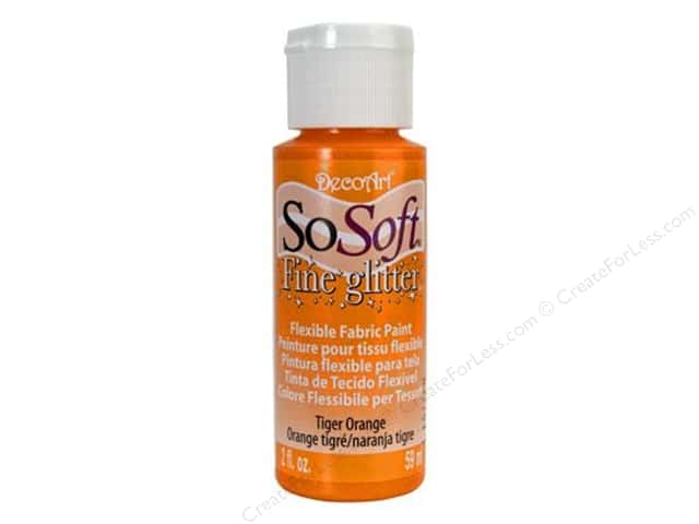DecoArt SoSoft Fabric Paint 2 oz. Glitter Tiger Orange