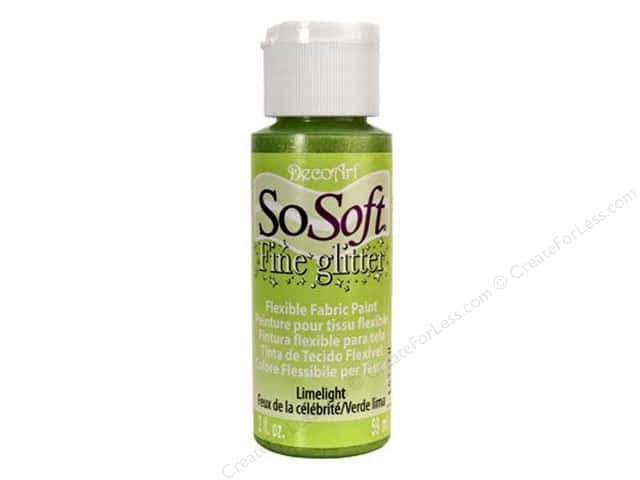 DecoArt SoSoft Fabric Paint 2 oz. Glitter Limelight