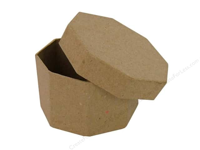 Paper mache octagon box regular by craft pedlars 36 for Craft paper mache boxes