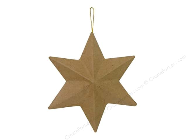 Paper Mache 6 Point Star Ornament by Craft Pedlars 5 in. (3 pieces)