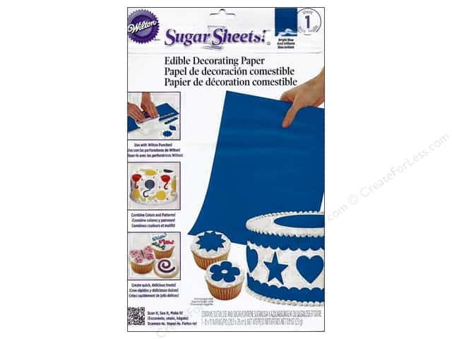 "Wilton Edible Decorations Sugar Sheets Paper 8""x 11"" Bright Blue"
