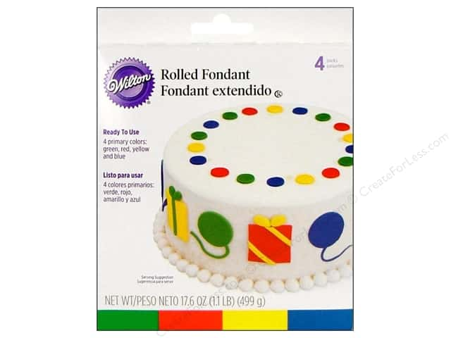 Wilton Edible Decorations Fondant Rolled Primary Colors 4pc