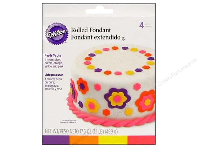Wilton Edible Decorations Fondant Rolled Neon Colors 4pc