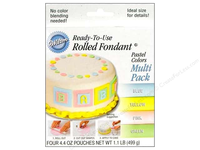 Wilton Edible Decorations Fondant Rolled Pastel Colors 4pc