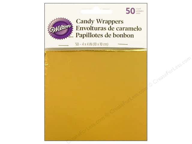 Wilton Candy Wrappers 4 x 4 in. 50 pc. Gold Foil