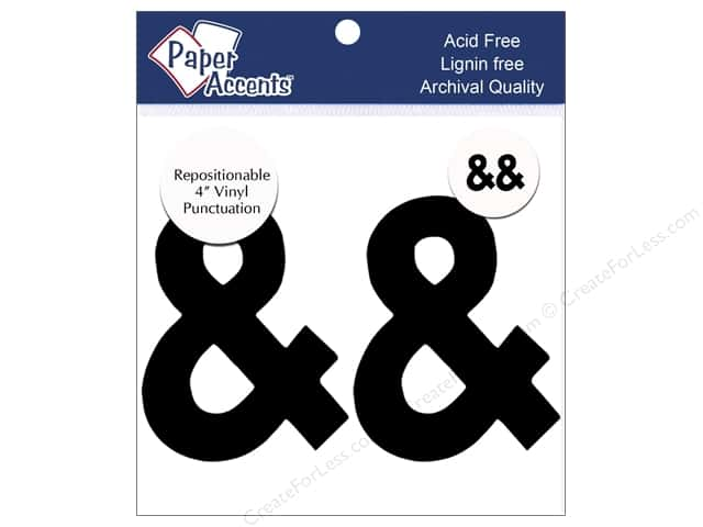 "Paper Accents Adhesive Vinyl 4 in. Punctuation ""&"" 2 pc. Removable Black"