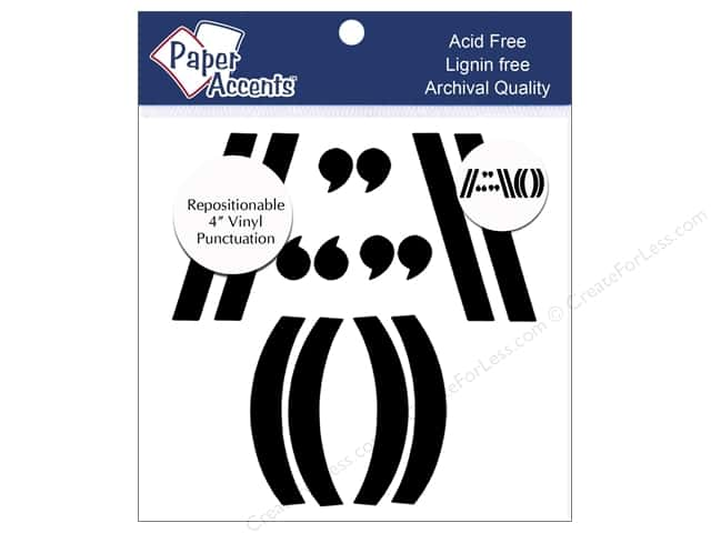 Paper Accents Adhesive Vinyl 4 in. Punctuation 14 pc. Removable Black