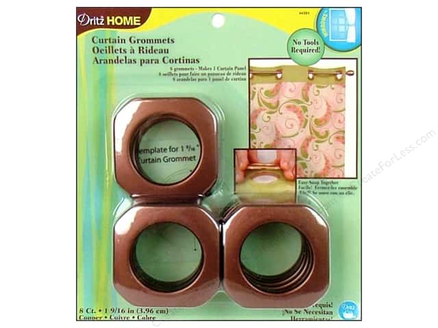 Dritz Home Curtain Grommets Large 1 9/16 in. Square Copper 8pc