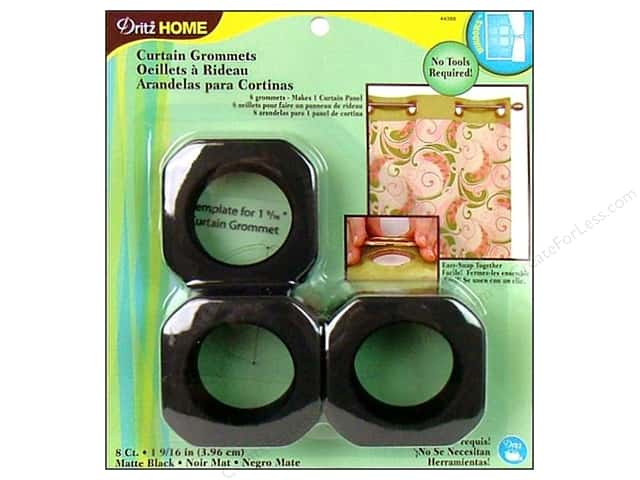 Dritz Home Curtain Grommets Large 1 9/16 in. Square Matte Black 8pc