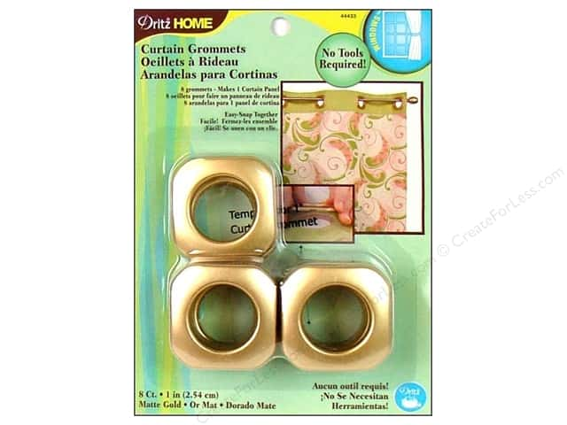 Dritz Home Curtain Grommets Medium 1 in. Square Matte Gold 8pc