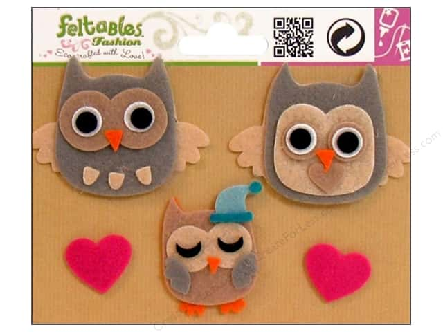 Feltables Fashion Embellishment Owl Family/Hearts 5pc