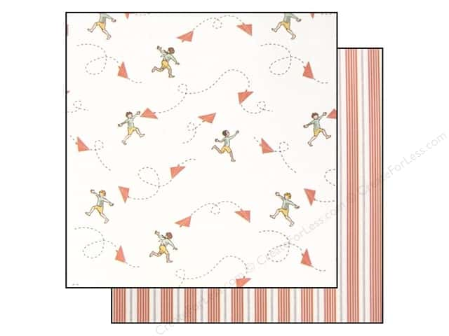 "Making Memories Paper 12""x 12"" Sarah Jane Chasing Planes Orange (25 pieces)"