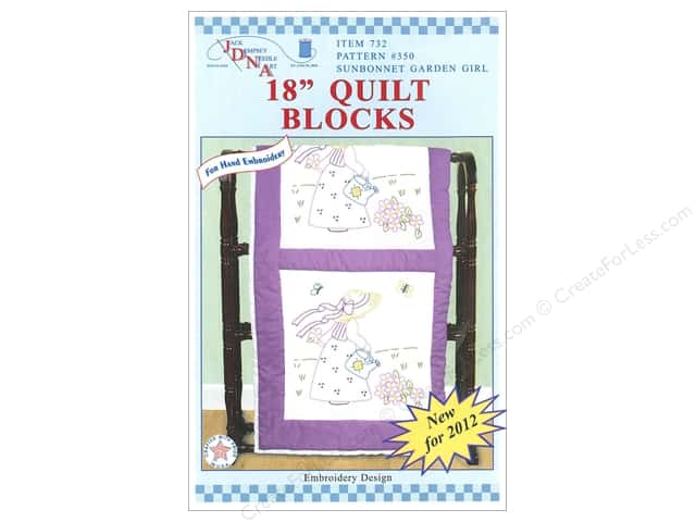 "Jack Dempsey Quilt Blocks 18"" 6pc Sunbonnet Garden Girl"