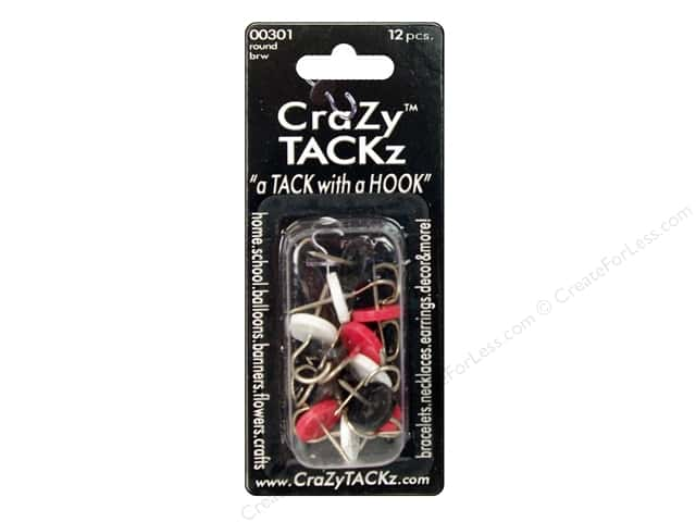 Crazy Tackz Tack With A Hook Round Black/Red/White 12pc
