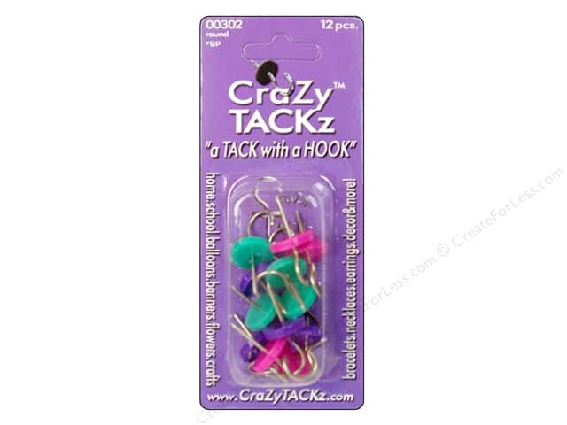 Crazy Tackz Tack With A Hook Round Violet/Green/Pink 12pc
