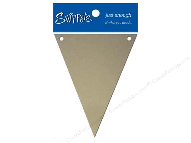 "Paper Accents Chipboard Pennants Snippets 2.5""x 4"" Nat 4pc (3 pieces)"