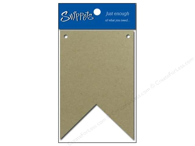 Paper Accents Chipboard Pennants 2 1/2 x 4 in. Two Point 4 pc. Kraft