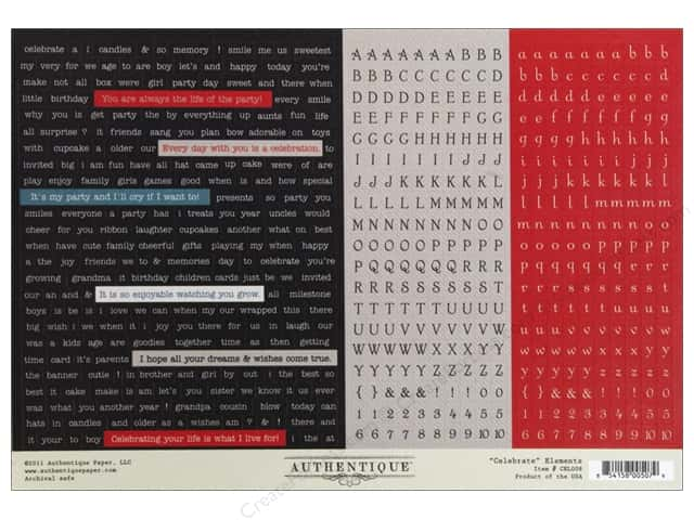 "Authentique Stickers Celebrate 12""x 8"" Elements"