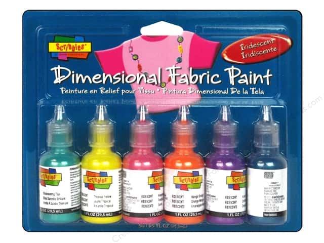 Scribbles Dimensional Fabric Paint Set Iridescent 6pc
