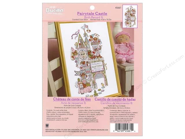 Bucilla Counted Cross Stitch Kit Birth Record Fairytale Castle